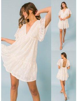Ruffle Sleeve Lace Dress