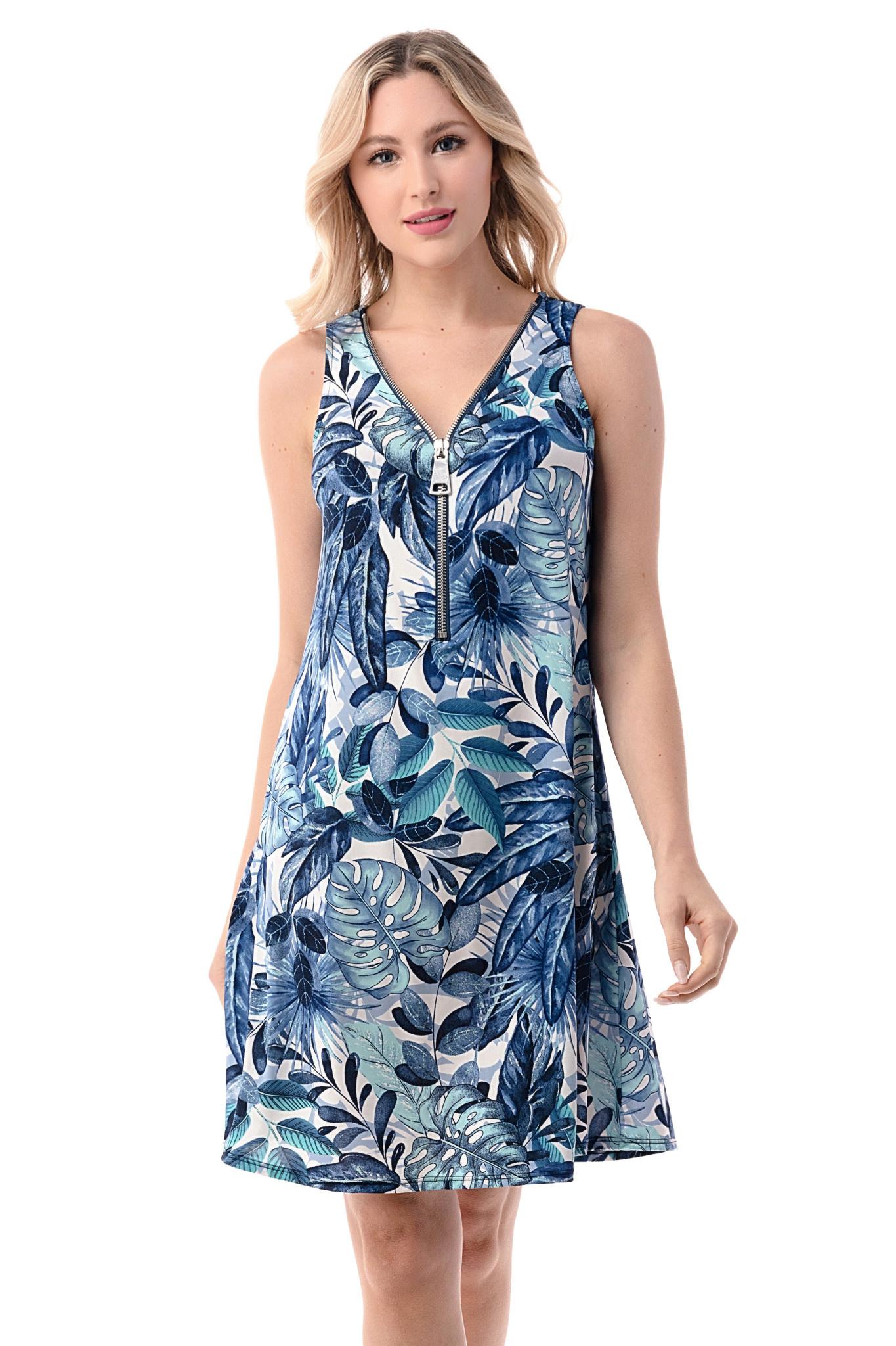 Printed Zipper Tank Dress