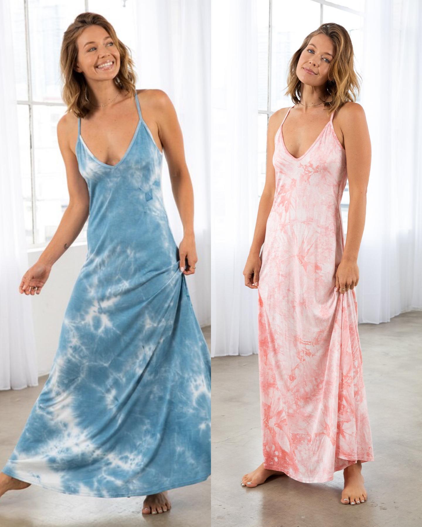Tie Dye Racerback Maxi Dress