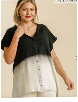Ombre Linen Button Down Top