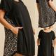 Back Print Linen Ruffle Sleeve Dress
