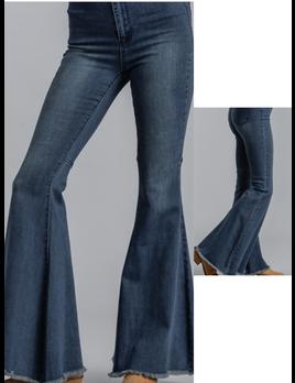 High Rise Frayed Hem Jeans