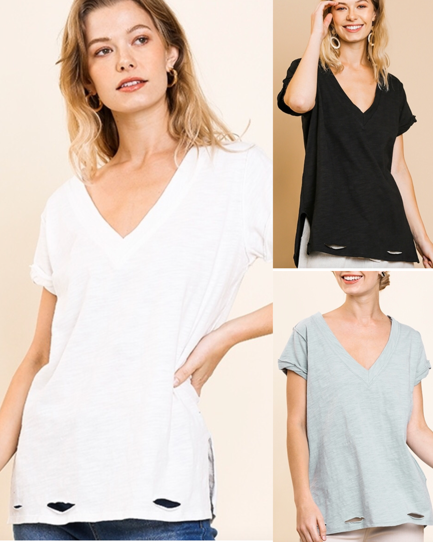 V Neck Tee with Distressed Hem and Side Slits