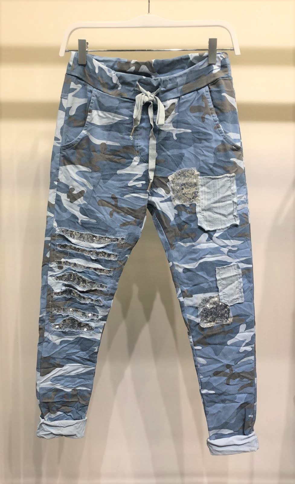 Camo Sequin Crinkle Jogger