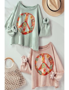 Graphic Floral Peace Sign Sweatshirt