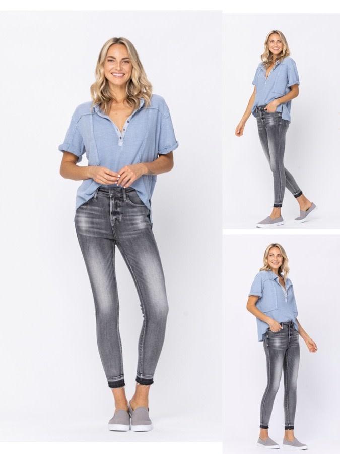 Hem Detail Skinny High Rise Jeans