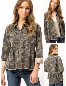 Camouflage Peplum Denim Jacket