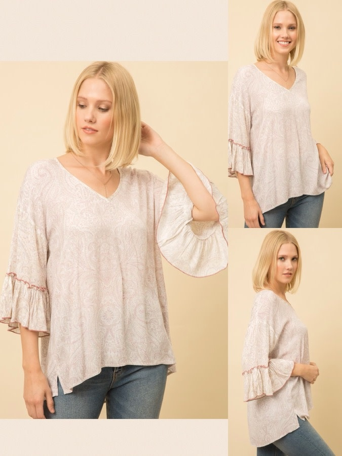 Paisley Top with Ruffle Sleeves