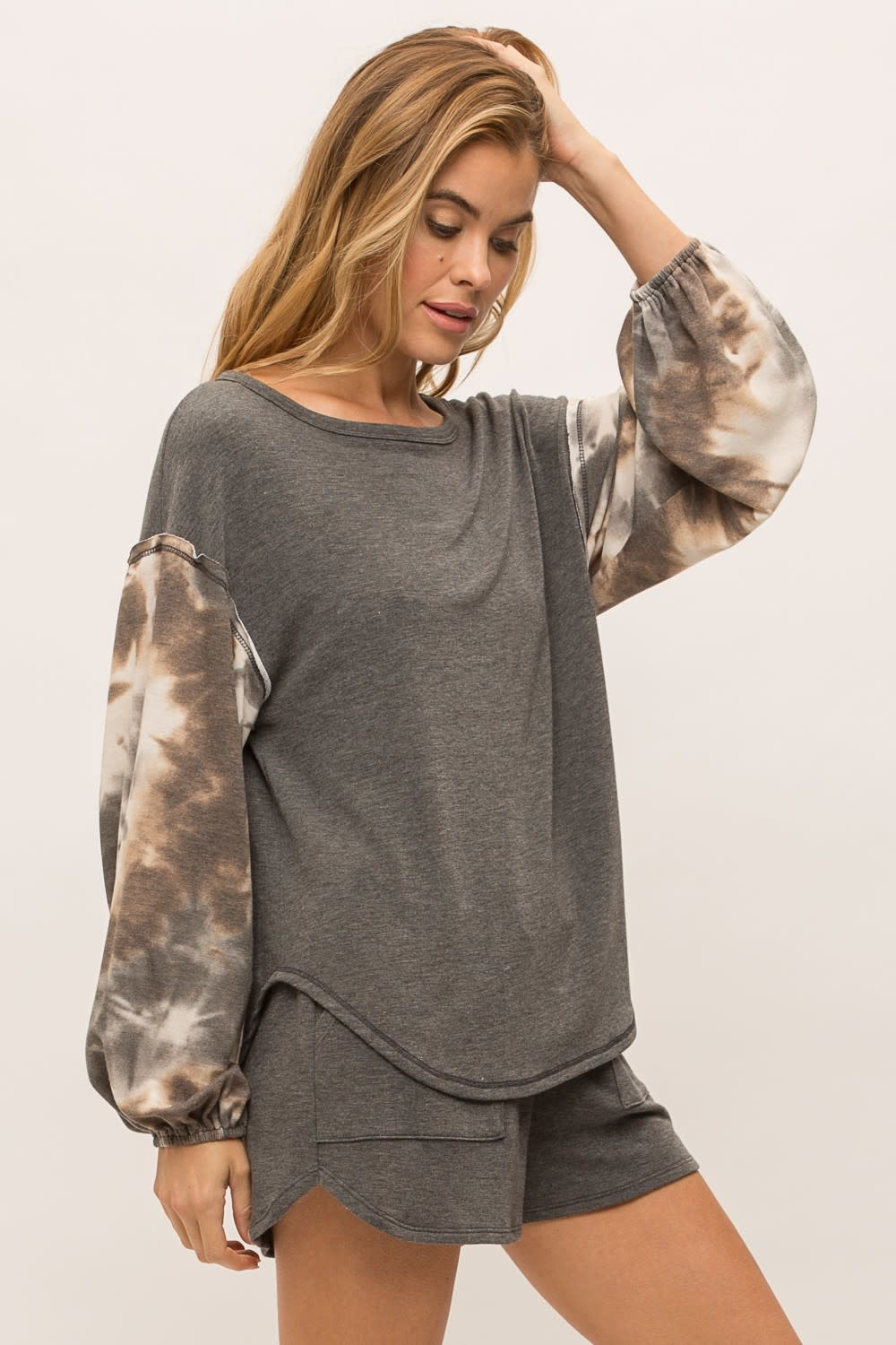 Terry Pullover w/ Tie Dye Sleeves