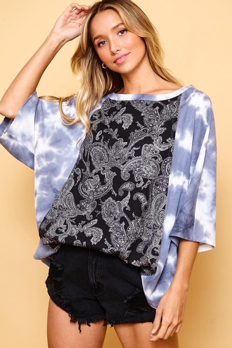 Paisley & Tie Dye Print Top