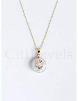 Silver Necklace with Pearl CZ Charm