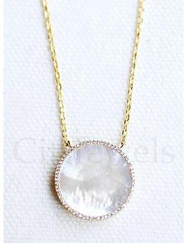 CZ Rim Circle Necklace-Gold