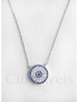Silver CZ Disc Necklace Blue