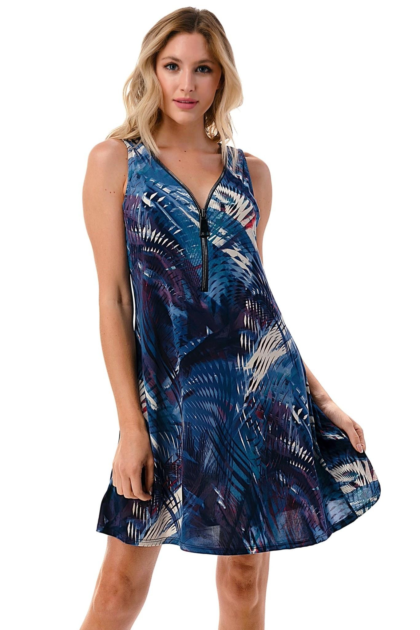 Print Zip Tank Dress