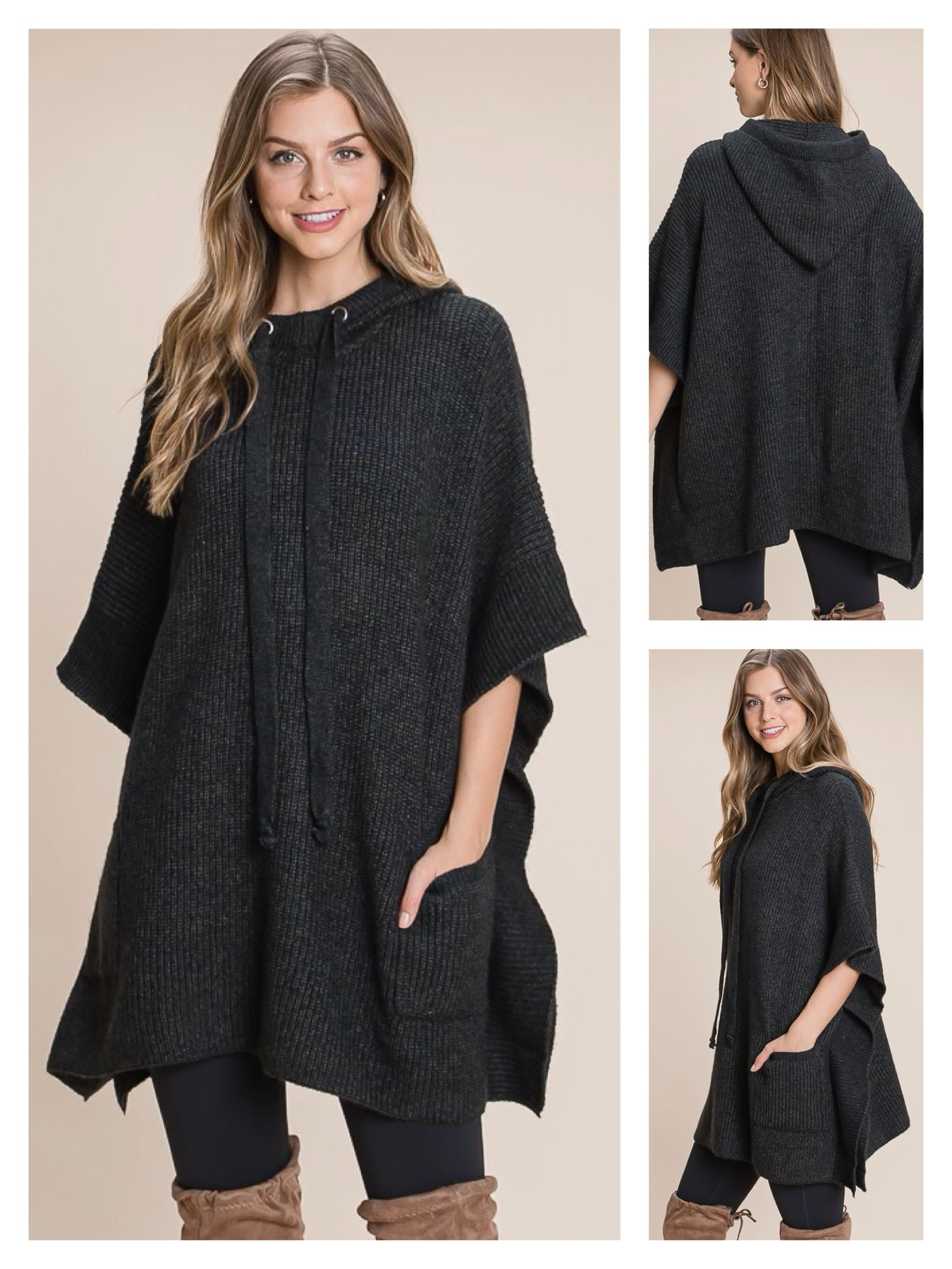 Sweater Poncho with Pocket