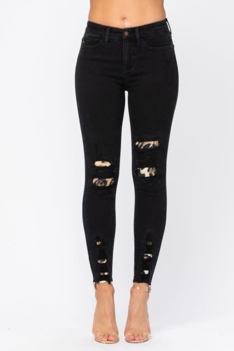 Destroyed Leopard Patch Skinny Jeans