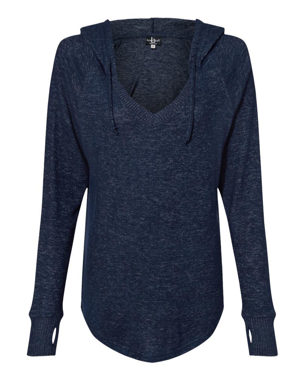 Fleece V Neck Hooded Pullover W/ Thumbholes