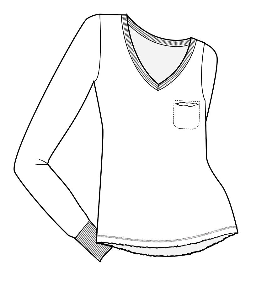 V Pocket Tunic Top