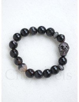 Beaded Bracelet w/ Brass Pave Skull