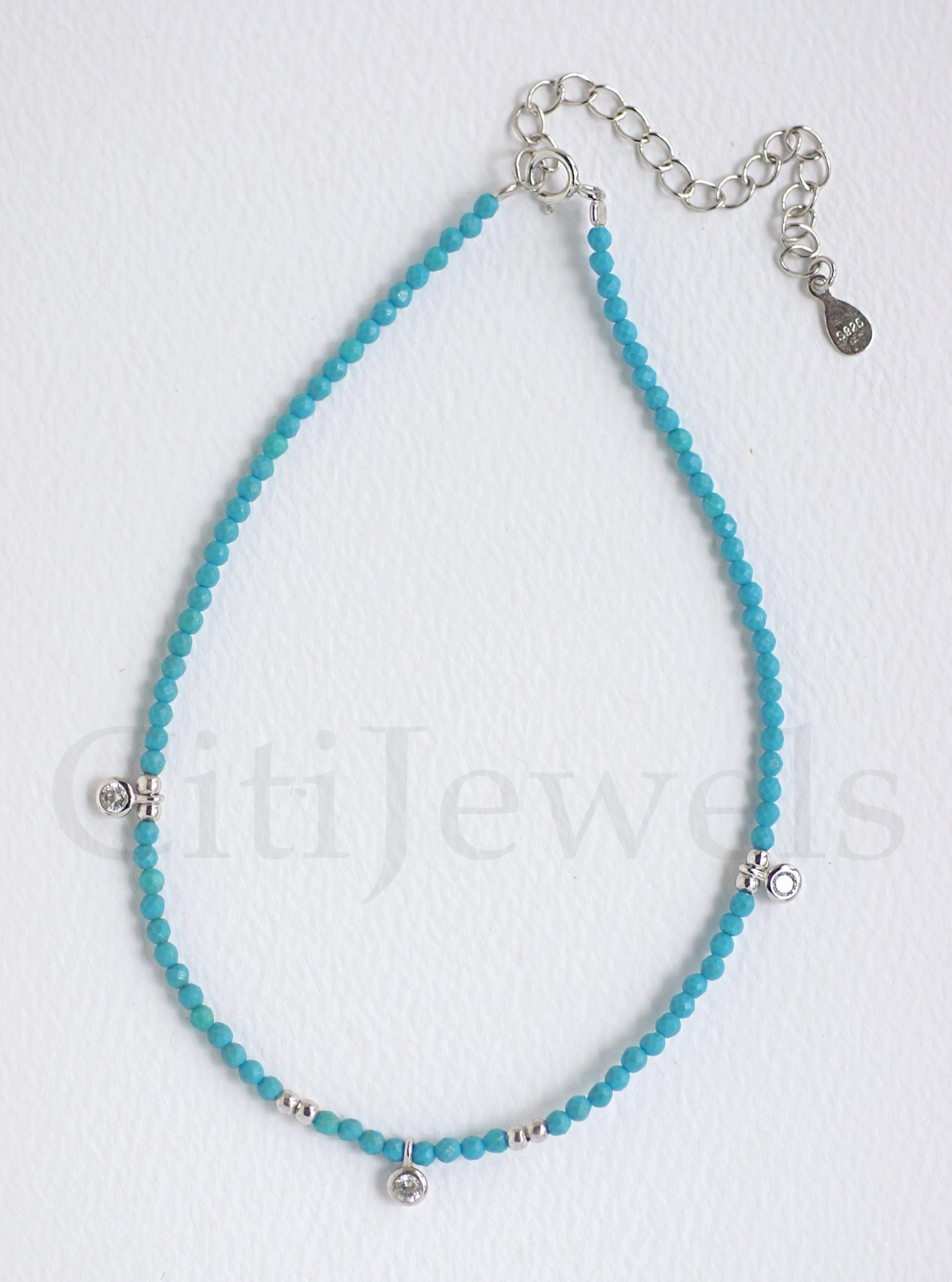 Beaded Anklet W/ Dangling CZ Stones