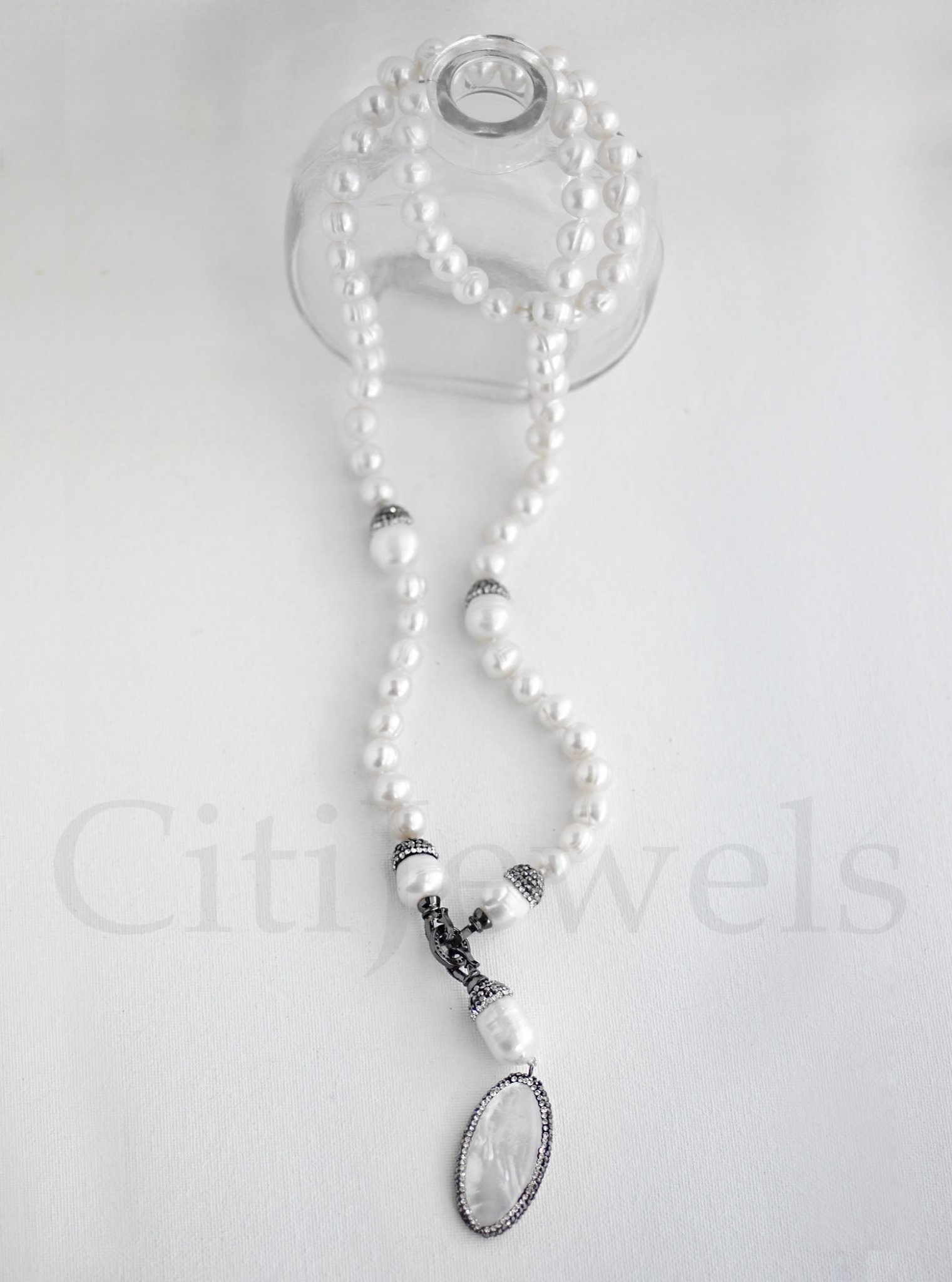 """32"""" Pearl Necklace w/ Crystalized MOP"""
