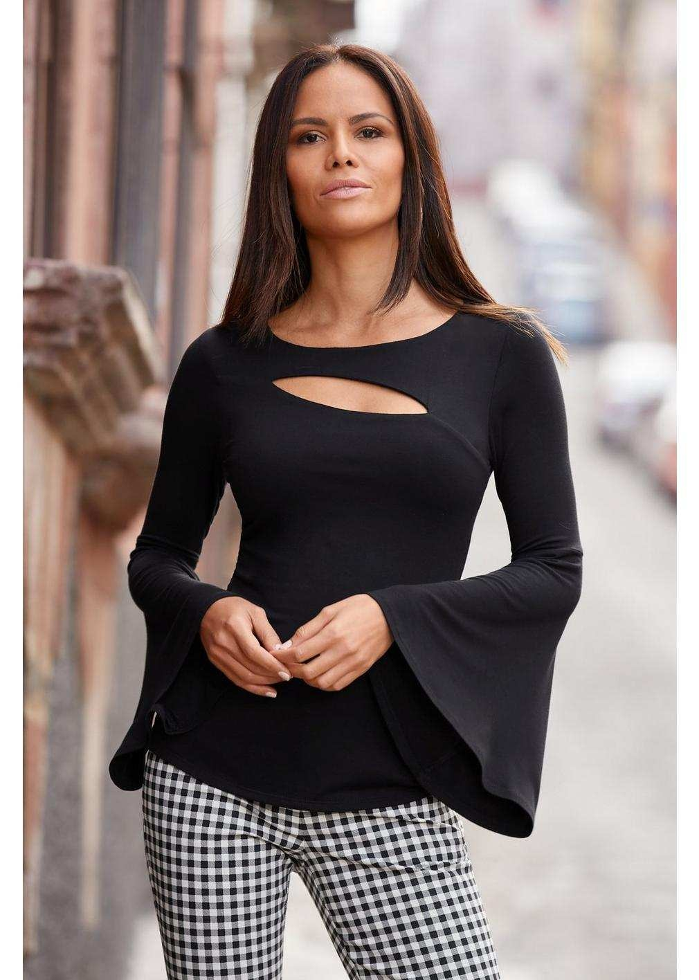 Bell Sleeve Top w/ Slit Front
