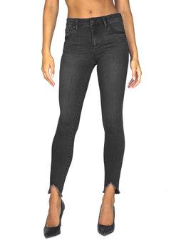 High Rise V Destructive Hem Skinny Jeans