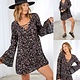 Lace Up Front Bell Sleeve Dress