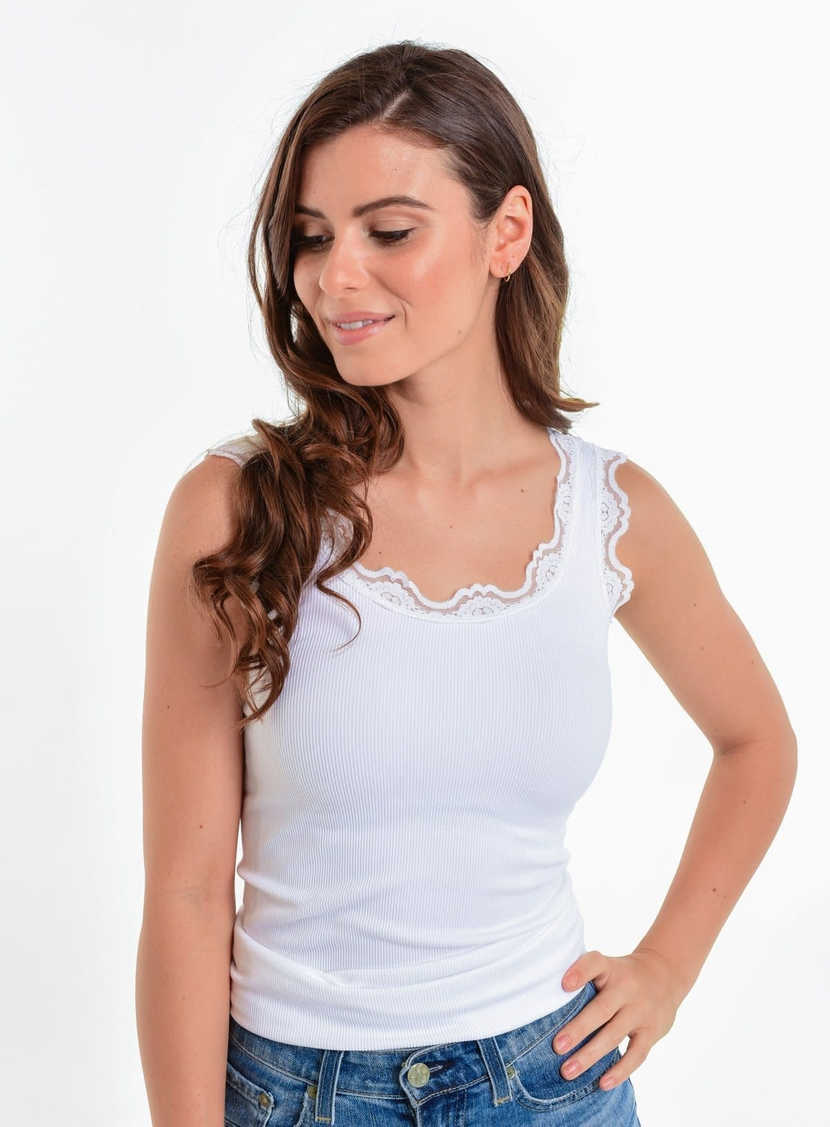 Wide Strap Lace Tank Top