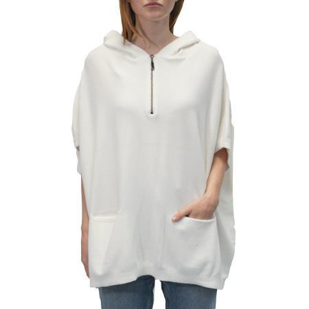 Hooded Zip Poncho with Pockets