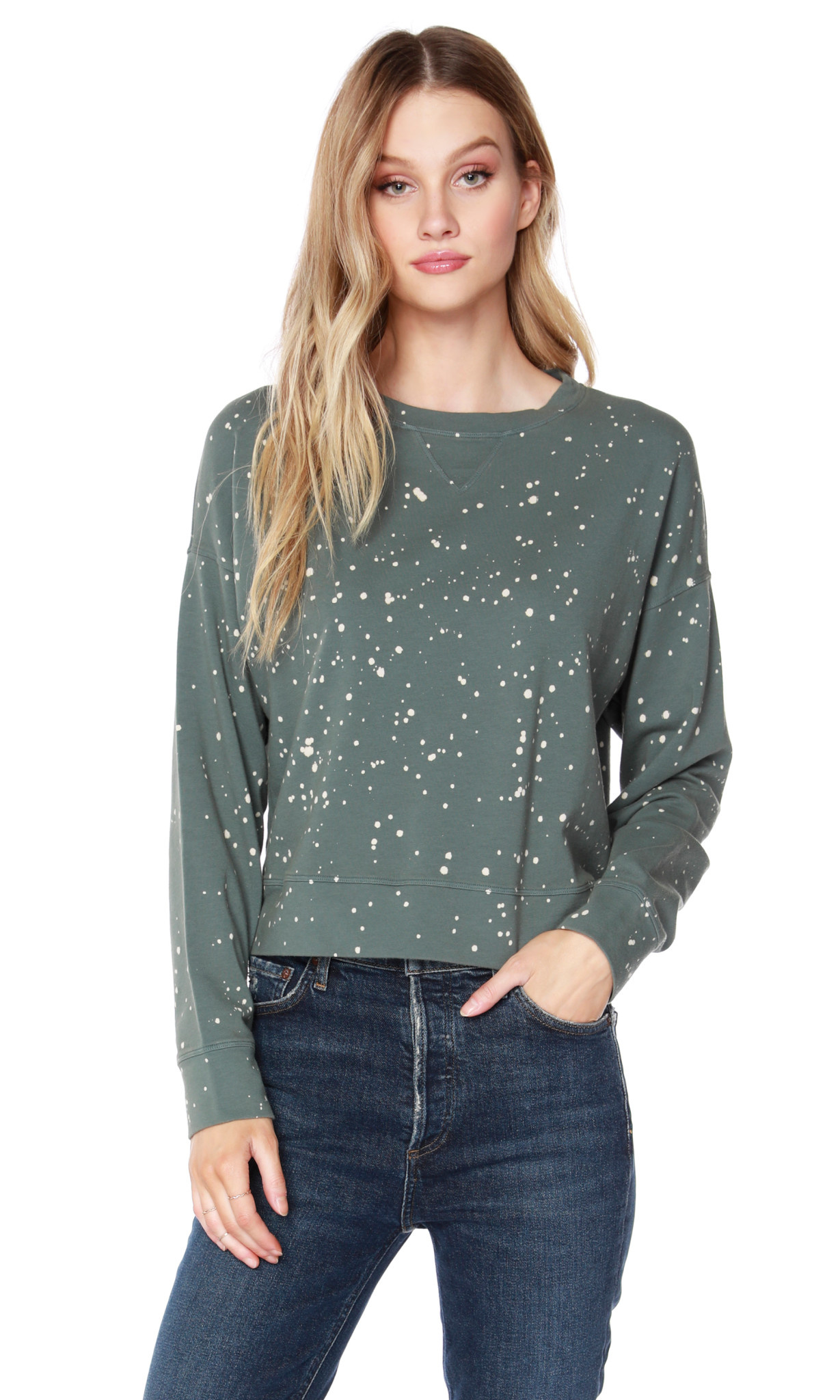 Splattered Cropped Sweater