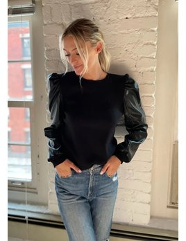 Leather Puff Sleeve Top
