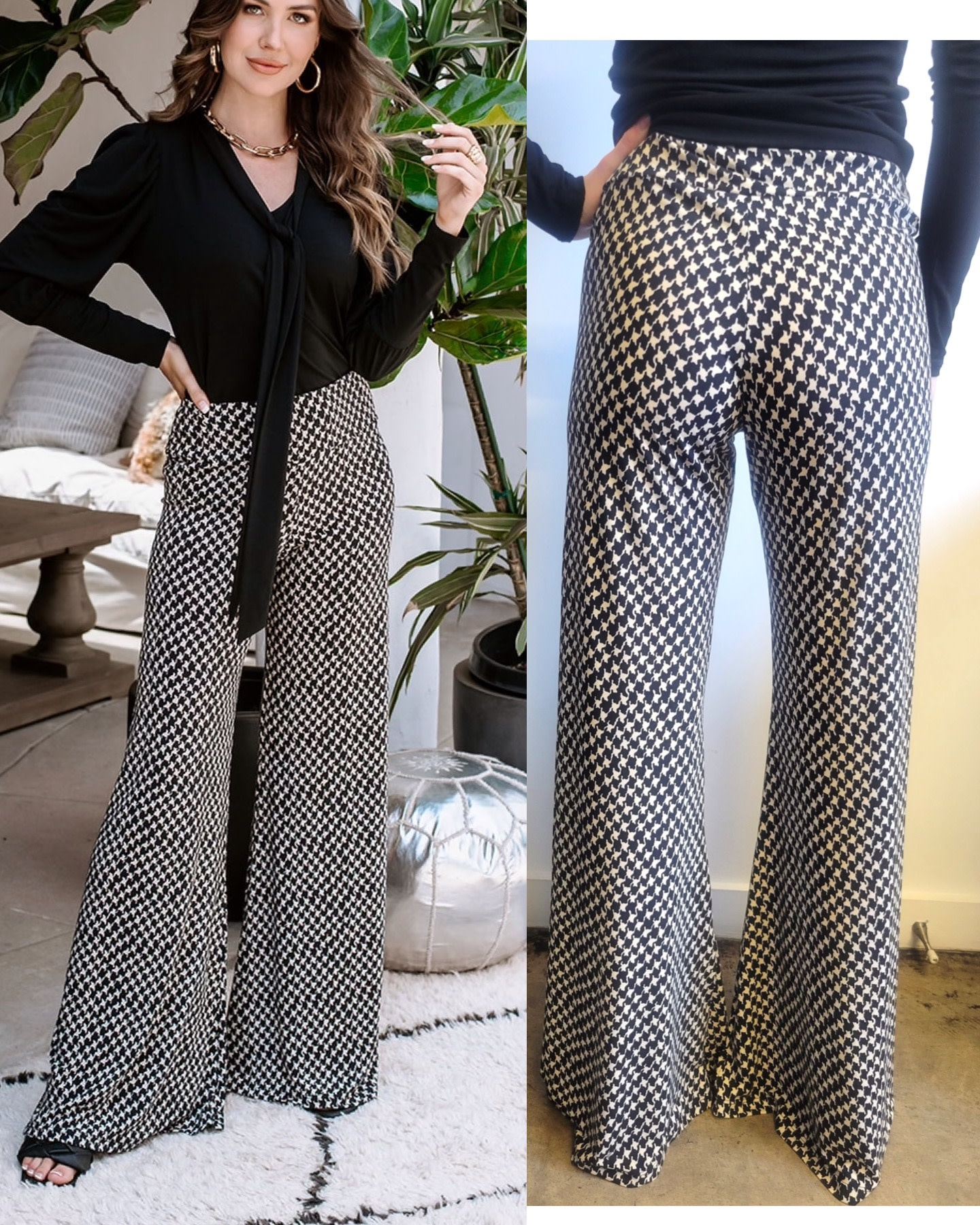 Hounds Tooth Wide Leg Pants