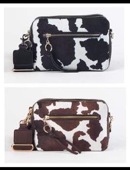 Cowprint Faux Suede Crossbody Bag