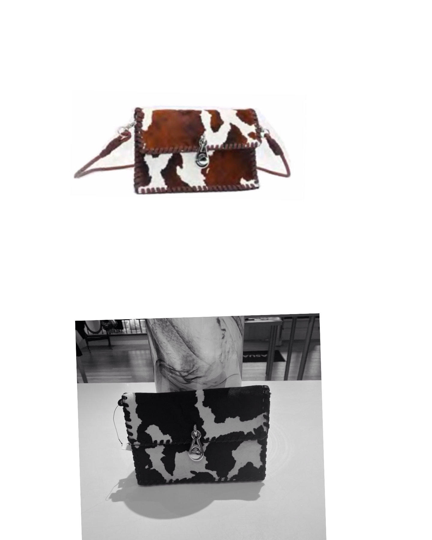 Cowprint Faux Suede Clutch Crossbody Bag