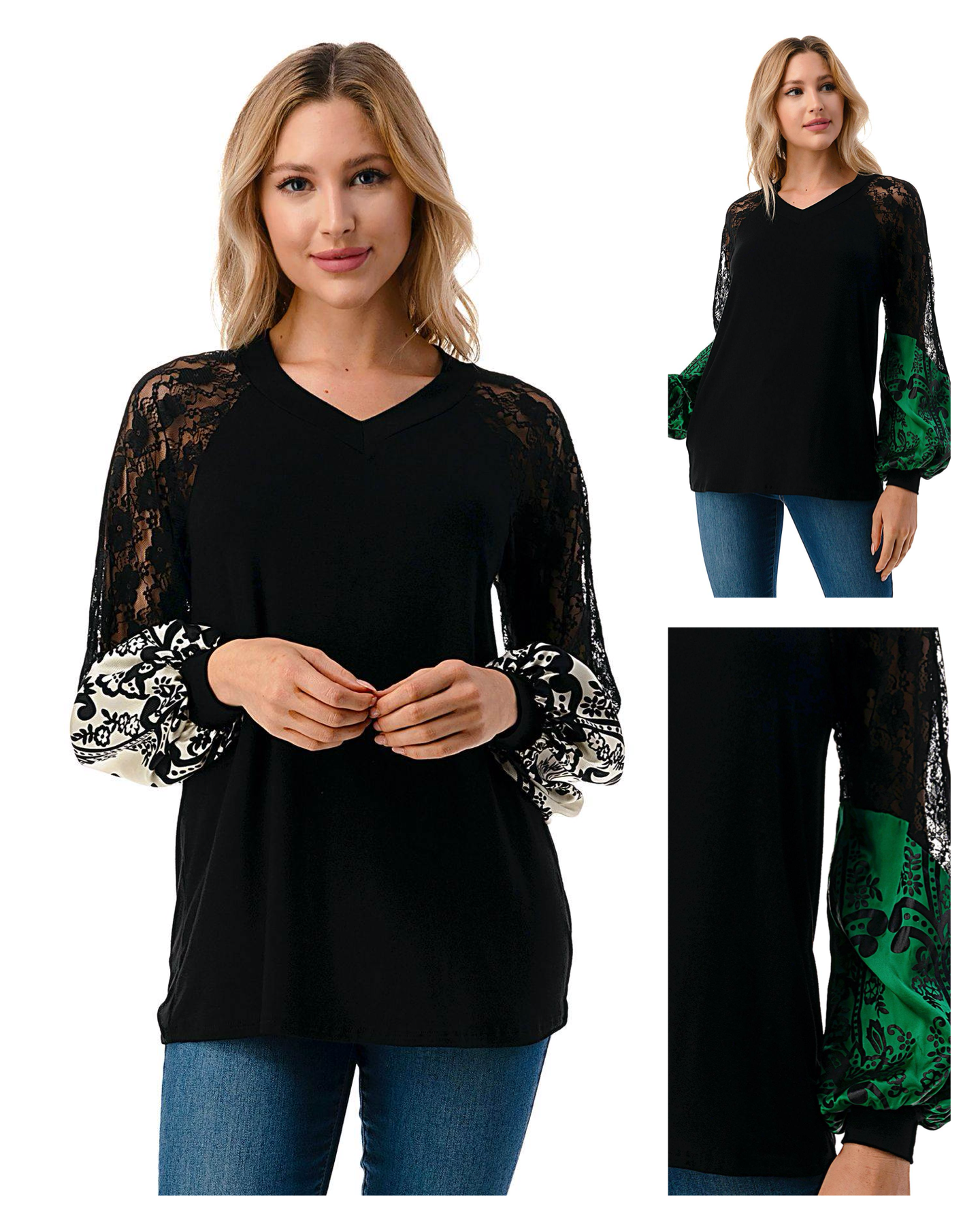 Lace & Silk Detail V Neck Top
