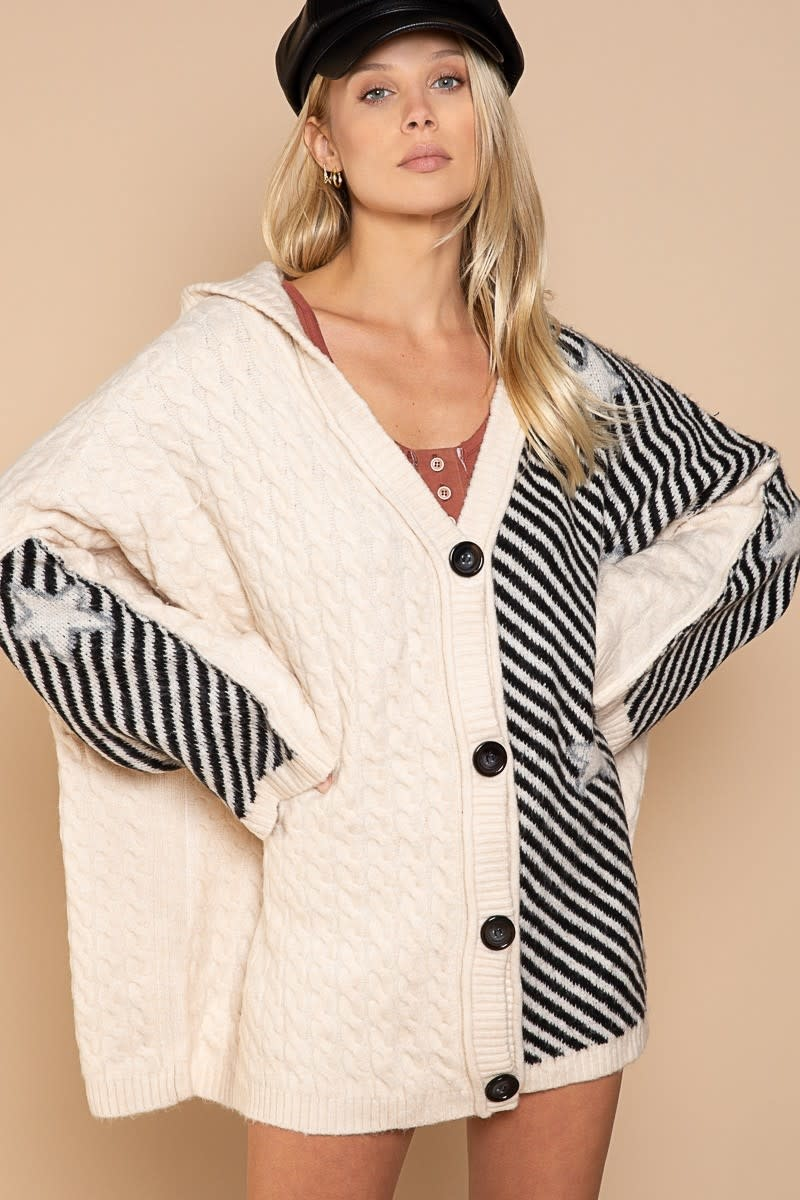 Oversized Cable, Stripes and Star Cardigan