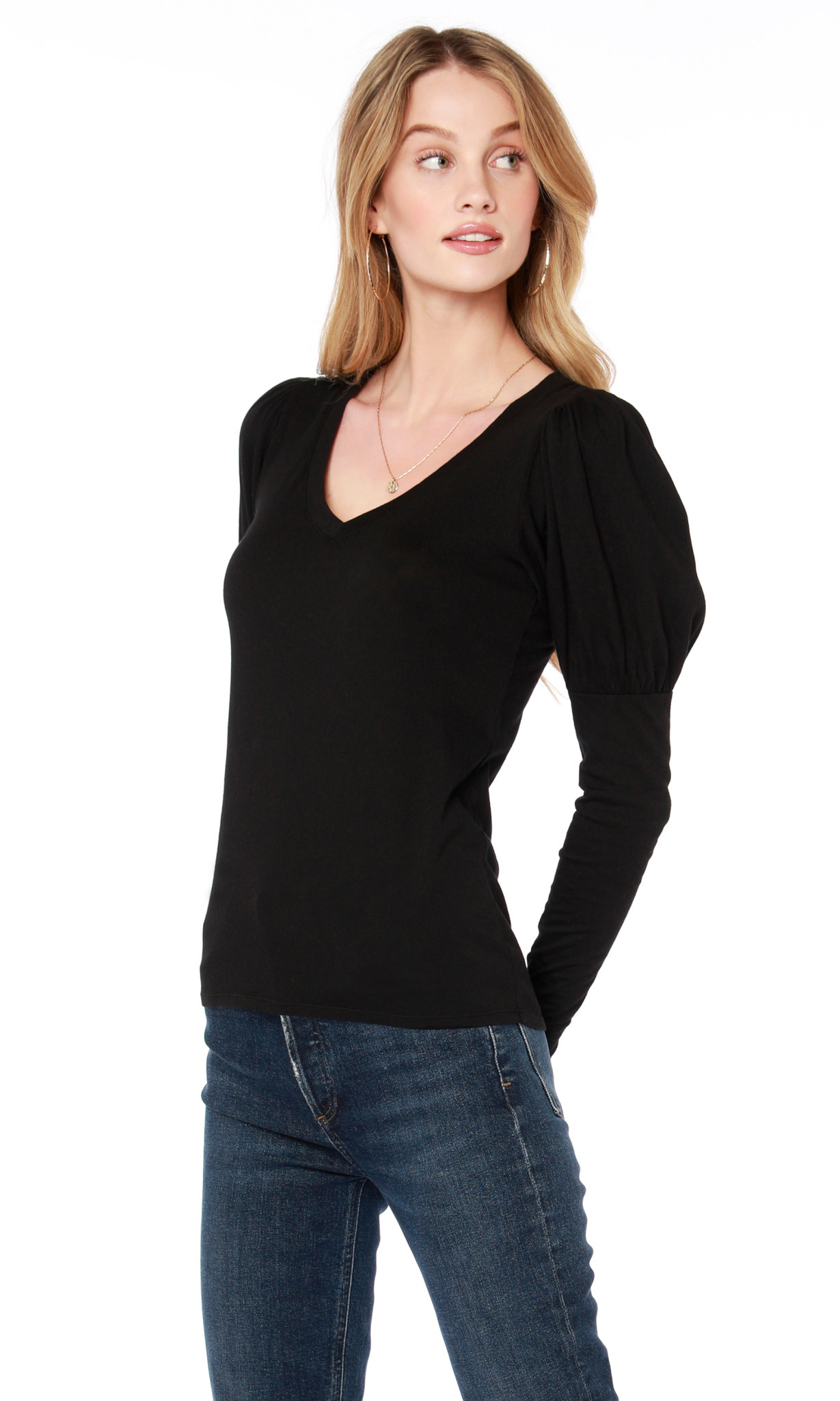 V Neck Puff Sleeve L/S Tee