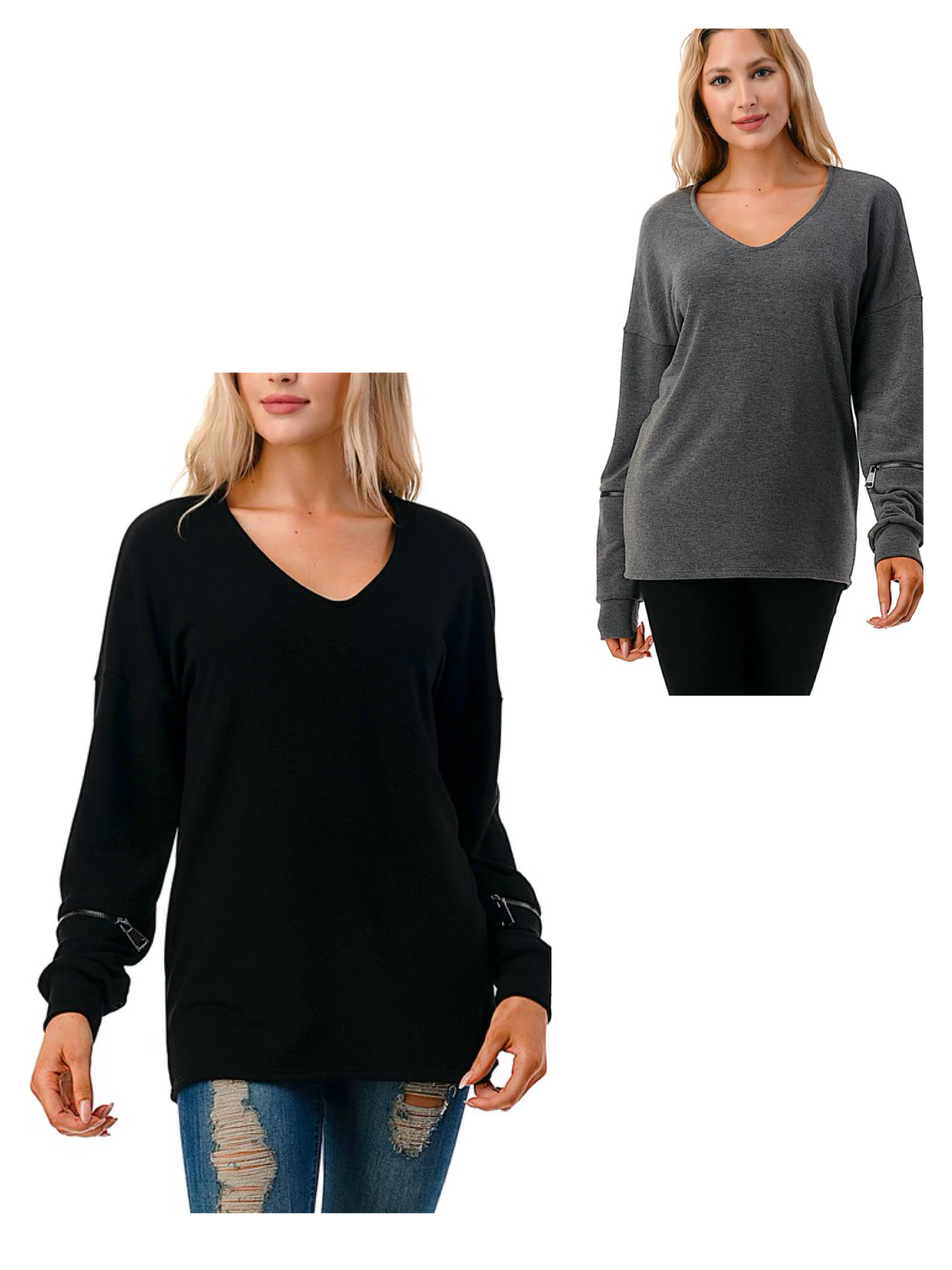 V Neck Top with Zipper Detail
