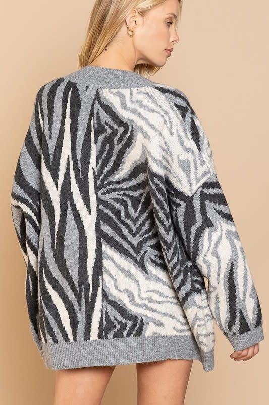 Zebra Print Cardigan Sweater