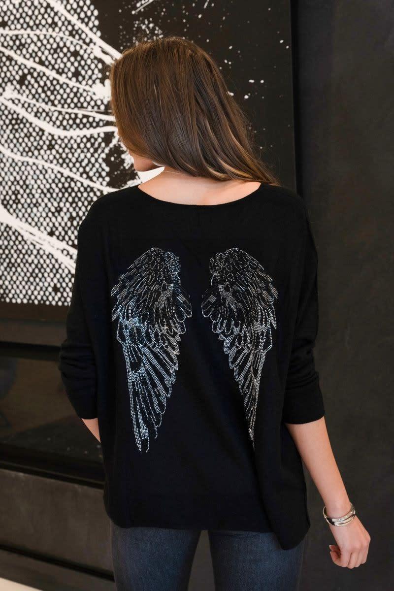 Rhinestone Angle Wing Lightweight sweater