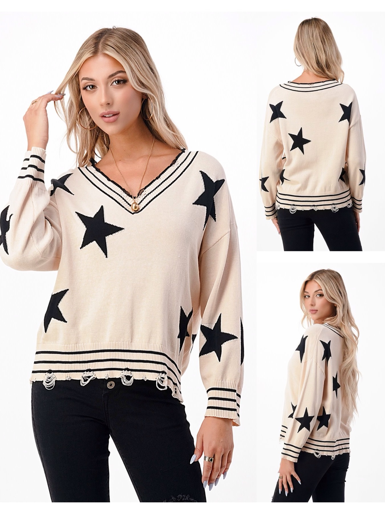 Distressed Star Sweater