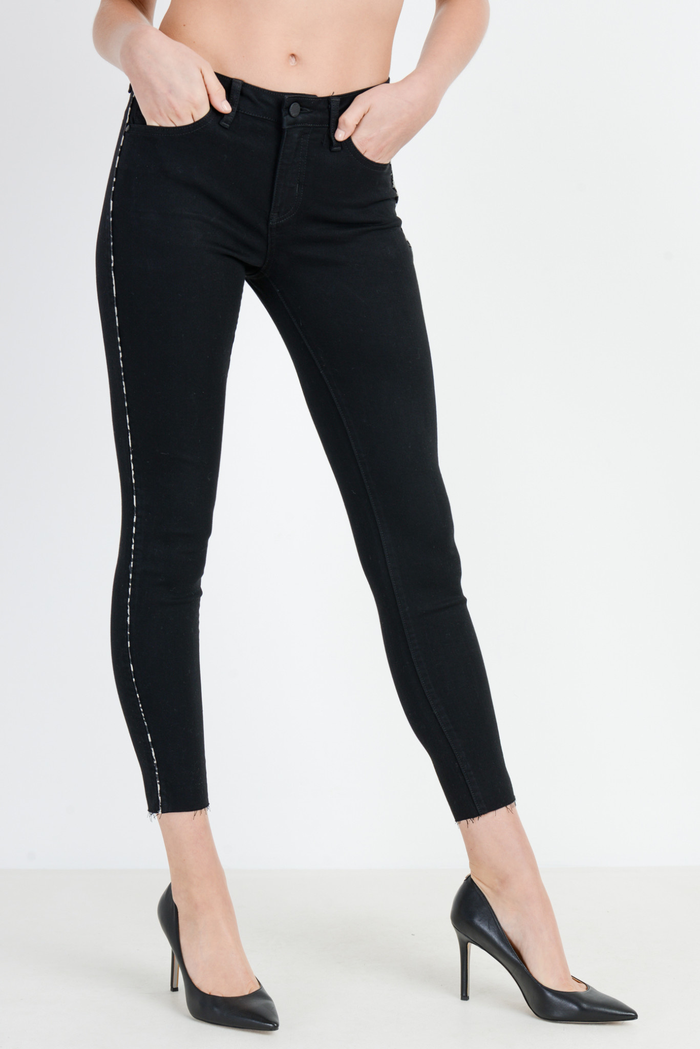 Skinny Jeans with Leopard Piping