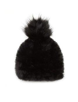 Black Faux Fur Pom Pom Hat