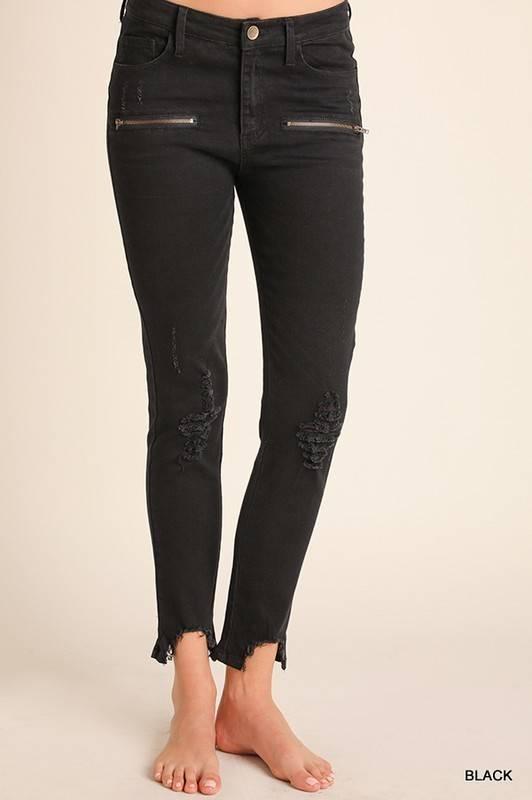 Distressed Washed Denim Pants