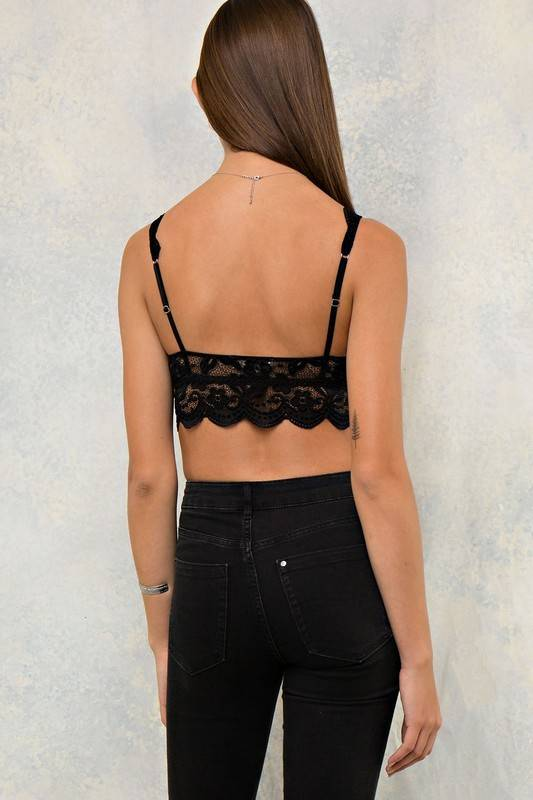Lace Bralette with Crisscross Front