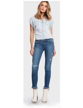 Super Stretch Fringe Jeans with Patch