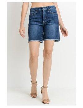 High Rise Frayed Bermuda Shorts
