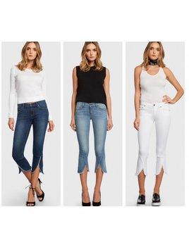 Ruffle Hem Crop Capri Jeans