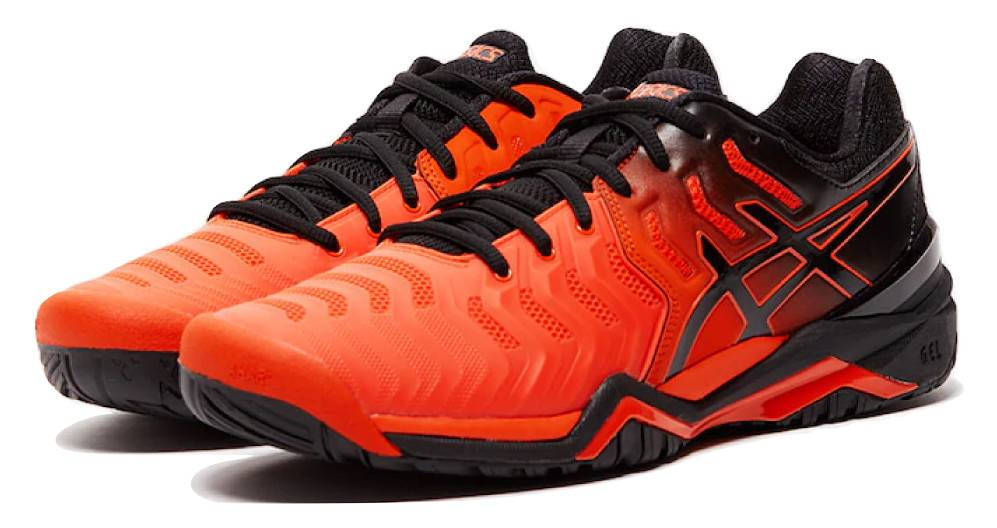 quality design 63fb8 f23b9 ... Asics Gel Resolution 7 Cherry Tomato Red Black Men s Tennis Shoes ...